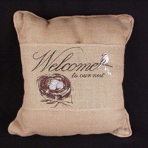 Embroidered Bird WELCOME TO OUR NEST burlap pillow